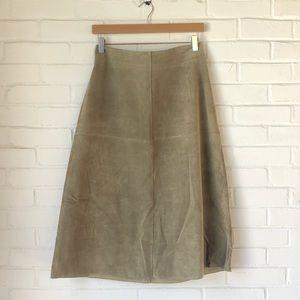 Vintage 100% suede sage green midi skirt